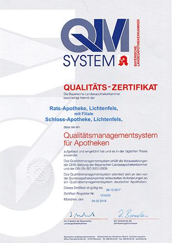 Qualitäts-Zertifikat